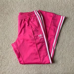 Pink Adidas Track Pants with Zippers